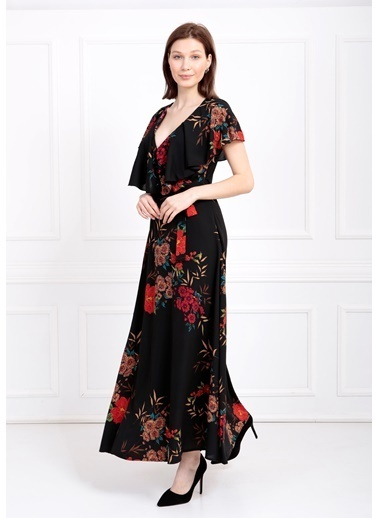 Sense Elbise Kruvaze Volanlı Krep Elbise Elb31181 Siyah